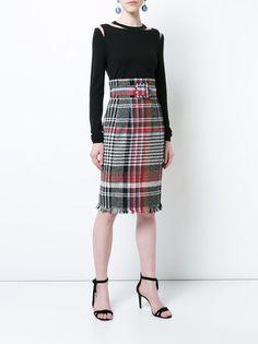 Oscar de la Renta belted plaid skirt
