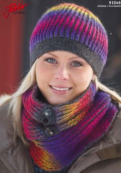 Warming and imaginative - Hat with matching scarf. Scarfs, Knitted Hats, Knitting Patterns, Knit Crochet, Knits, Colorful, Beautiful, Simple, Inspiration