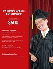 Easy $500 scholarship for students 14-25. Deadline June 30.