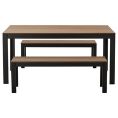 FALSTER Table+2 benches, outdoor - black/brown - IKEA