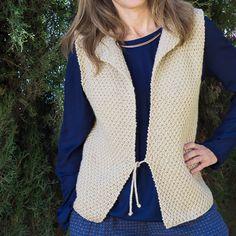 Chaleco de lana en tonos naturales sin mangas