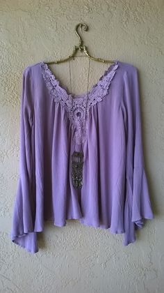 Image of Kimchi & blue violet bell sleeve gauze peasant blouse