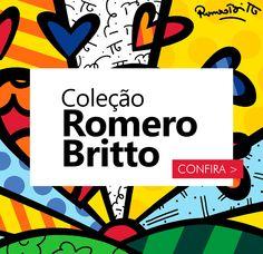 A linha de produtos Romero Britto vai te encantar! São peças super coloridas e com estampas diferenciadas, perfeitas para decorar seu lar. #romerobritto #decor #homedecor #decoracao #interiores #decorarfazbem #carrodemola.