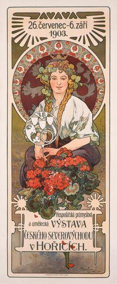 Alphonse Mucha. Poster for Hospodářská, průmyslová a umělecká výstava (Portrait of Helga), 1903. Source.