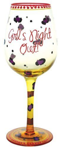 """Westland Giftware 9-Inch Girl's Night Out Wine Glass, 15-Ounce by Westland Giftware. $19.95. Hand Wash Only. Wine glass. Clear glass with painted detail. Material: glass. Westland Giftware 9-Inch Girl's Night Out 15-Ounce The glass reads """"Girl's Night Out!"""" and has black and yellow pattern through out. Holds 15-Ounce and measures 9-Inch tall. Hand wash only. Brand new in its original box"""