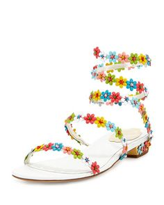 Floral-Embellished Coil Sandal, White/Multi by Rene Caovilla at Bergdorf Goodman.