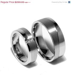Two Matching Sterling Silver Wedding Bands Promise Rings for Him And Her With Diamonds.