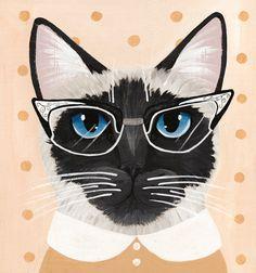 Marie the Siamese Cat Folk Art Portrait Painting by KilkennycatArt