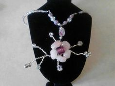 Flower necklace pink/purple/silver by Trinketastic on Etsy, $30.00