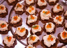 Salmon mousse crostini on Rye bread