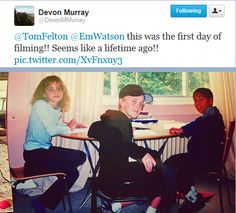 Emma Watson, Tom Felton, and Devon Murray- first day of filming the Sorcerer's Stone