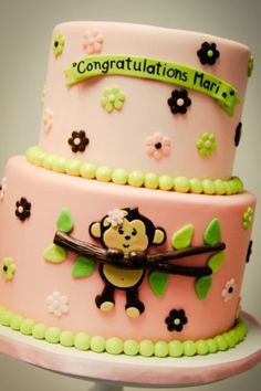 Girl monkey baby shower cake
