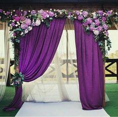 purple hydrangea wedding arch / http://www.himisspuff.com/fall-wedding-arch-and-altar-ideas/4/