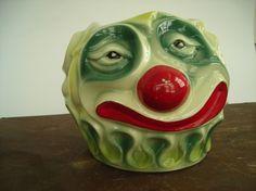 McCoy ~ Creepy Clown Cookie Jar ~ Minus Top.