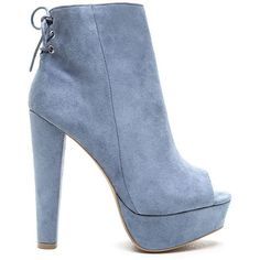 Sky High Faux Suede Platform Booties ($29) ❤ liked on Polyvore featuring shoes, boots, ankle booties, blue, faux suede booties, blue booties, peep-toe ankle booties, lace up peep toe booties and lace up booties