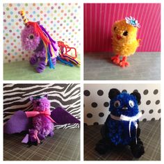 Fun Pom Pom animals. Supplies list: yarn, pipe cleaners, google eyes, buttons, felt and creativity. My 6 year old made the bat, my 12 year old made the chick, my 11 year old stepson made the rainbow unicorn (Holla to my PRIDE peeps! Lol) and my 13 year old daughter made the bear! They loved this craft!