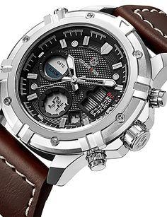 269317850a3b   44.99  Hombre Reloj Deportivo Reloj Militar Reloj digital Japonés Cuarzo  Piel Cuero Auténtico Negro   Marrón 30 m Resistente al Agua Calendario  Cronógrafo ...