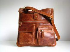 Leather Handbag Messenger Bag Brown  95.00 €