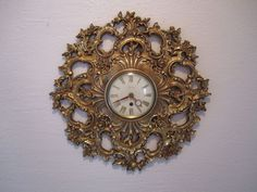 Hollywood Regency Gold Syroco Wall Clock Ornate Medallion Floral Scrollwork 18""