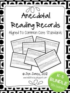 Bundle of Anecdotal Records for Informal Reading Assessments including all RL RIT common core reading standards Reading Record, Reading Notes, Reading Centers, Reading Workshop, Guided Reading, Teaching Reading, Literacy Assessment, Reading Assessment, Reading Intervention