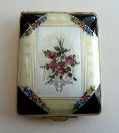 Double Enamel Guilloche Compact by FM Co. with Hand-Painted Flowers. Click on image for more photos.