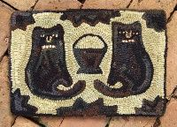 love these faces - hooked rug cats