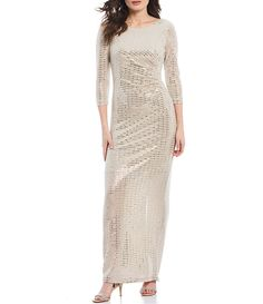Shop for Jessica Howard Glitter Metallic Knit Sleeve Side Tuck Gown at Dillard's. Visit Dillard's to find clothing, accessories, shoes, cosmetics & more. The Style of Your Life. Fall Fashion Trends, Autumn Fashion, Evening Gowns Online, Curvy Petite Fashion, Dress Collection, Celebrity Style, Clothing Accessories, Bride Dresses, Wedding Dresses