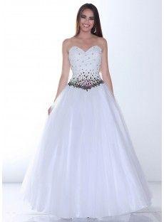 Sweetheart Floor Length White Tulle A Line Prom Dress USD $170.49
