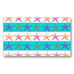 Summer Beach Theme Starfish on Teal Stripes Business Cards | Pretty Business Cards