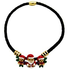 Crystal and Enamel #Santa with #Elves Cord #Necklace