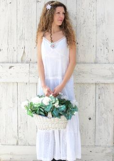 White Sundress  upcycled boho slip dress  romantic by wearlovenow, $45.00