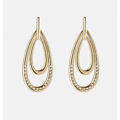 Avenue Stone Double Hoop Earrings ($2.99) ❤ liked on Polyvore featuring jewelry, earrings, teardrop hoop earrings, long earrings, fake earrings, fake hoop earrings and artificial jewellery