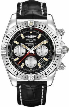 Breitling Chronomat 44 Airborne AB01154G BD13-743P Men s Watch 44mm Steel  Case Black Leather 745792b33d