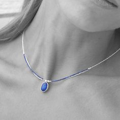 Lapis Lazuli Necklace, Sterling Silver and Blue Lapis Seed Beads Delicate Necklace, Simple Everyday Necklace, Minimalist Gemstone Necklace #blue #silver #etsy #unisexadults #bluelapisnecklace #bluelapislazuli #daintynecklace #seedbeadnecklace #thinnecklace #delicatenecklace Seed Bead Necklace, Blue Necklace, Simple Necklace, Dainty Necklace, Gemstone Necklace, Seed Beads, Beaded Necklace, Pendant Necklace, Lapis Lazuli Pendant