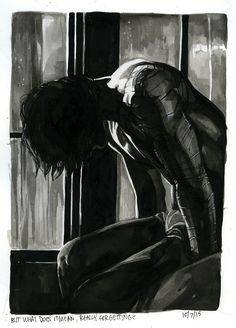 Bucky Barnes sitting in shadow fanart by dorkbait