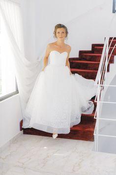 Bride going down the wedding venue stairs at Old World micro wedding in Corfu Island Corfu Wedding, Greece Wedding, Wedding Bride, Wedding Venues, Wedding Dresses, Corfu Island, Island Weddings, Old World, Hair Makeup