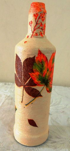 Items similar to Leaf Decoupage Glass Bottle,Decorative Bottle, Flower Vase on Etsy Decoupage Glass, Flower Vases, Flowers, Handmade Crafts, Glass Bottles, Leaves, Christmas, Etsy, Beautiful