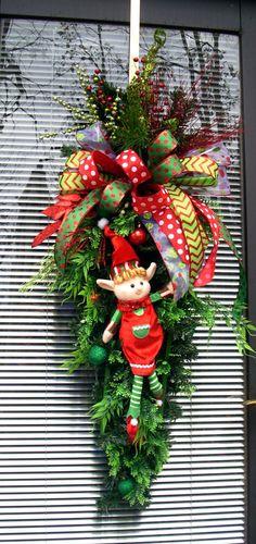 Christmas Elf Wreath Swag Red Swag Wreath Fun by LisasLaurels