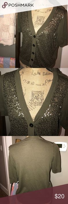 "Lg Olive Cardigan sequined ssl Talbots Chest approx 40"" laid flat armpit to bottom approx 14.5"". Excellent gently preloved condition. Slight wear under arms but overall excellent condition. Olive green with sequins. Wear open or closed. Super cute. Cotton Rayon blend. I ❤️Offers so chk my other items to save 💰!! Talbots Tops"