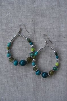 Green and Blue Beaded Hoops