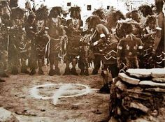 Hopi Indian Snake Men Consecrate the Ground with Corn Meal -Arizona, 1884