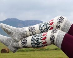 Wool knee stockings Pure sheep wool socks Winter wool stockings Warm high knee socks Stylish thick high socks Made in Russia Christmas socks Pink Socks, Wool Socks, Crochet Slippers, Knee Socks, Organza Gift Bags, Sheep Wool, Stockings, Pure Products, Knitting