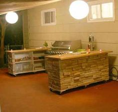 summer-kitchen-backyard-ideas - cool on wheels, put away under cover for protection when it rains