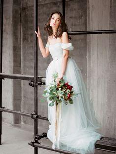 Grey tulle wedding dress Arsenia by Milamira Bridal