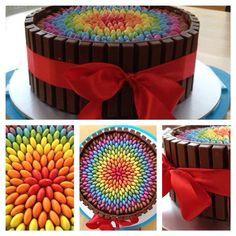 Rainbow smarty, kit kat cake