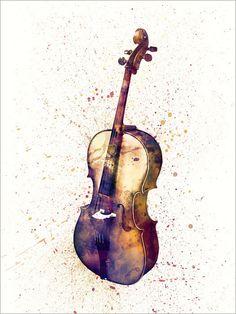 Violoncelle abstraite aquarelle musique Instrument Art par artPause