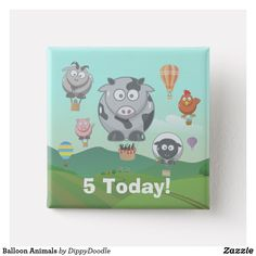 Balloon Farm Animals Pinback Kids Birthday Button