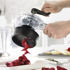 GEFU Spiralfix spiral slicer. And if you're serious about spirals and want a tool with all the bells and whistles, check out the GEFU Spiralfix, for safe and easy spiralizing with built-in storage.