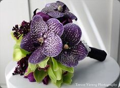 Stunning bouquet of purple Vanda orchids, richly colored lilac, plum calla lilies, aubergine parrot tulips, and chartreuse cymbidium orchids Purple Orchid Bouquet, Green Orchid, Purple Wedding Bouquets, Purple Orchids, Floral Bouquets, Purple Flowers, Bouquet Wedding, Cymbidium Orchids, Purple And Green Wedding