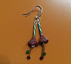Pretty maroon Czech glass flower earrings with by RealBeadDesigns